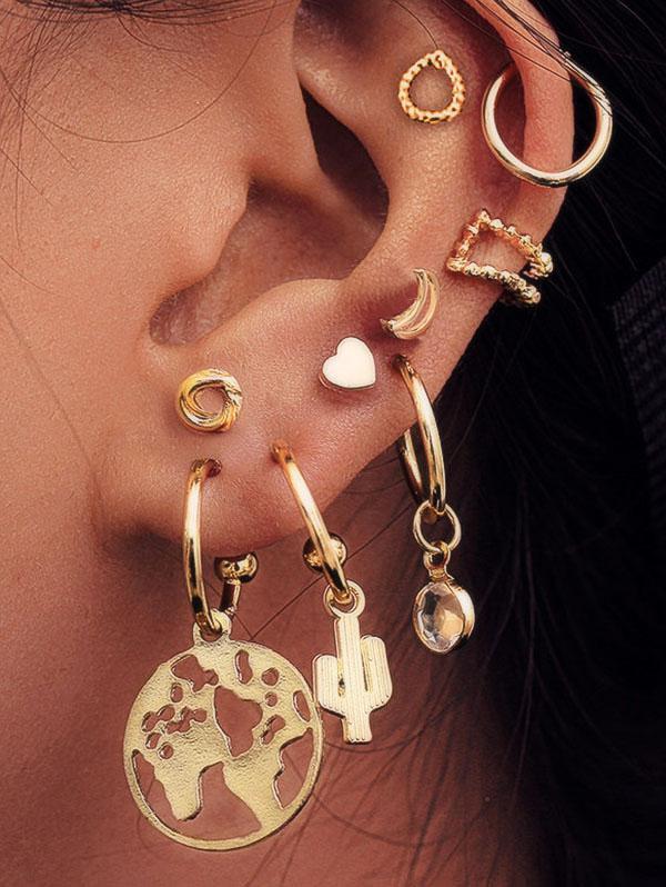 9Pcs Map Cactus Stud Earrings Set