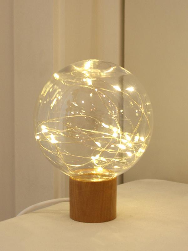 Wood Base Room Decor String Light Ball Lamp
