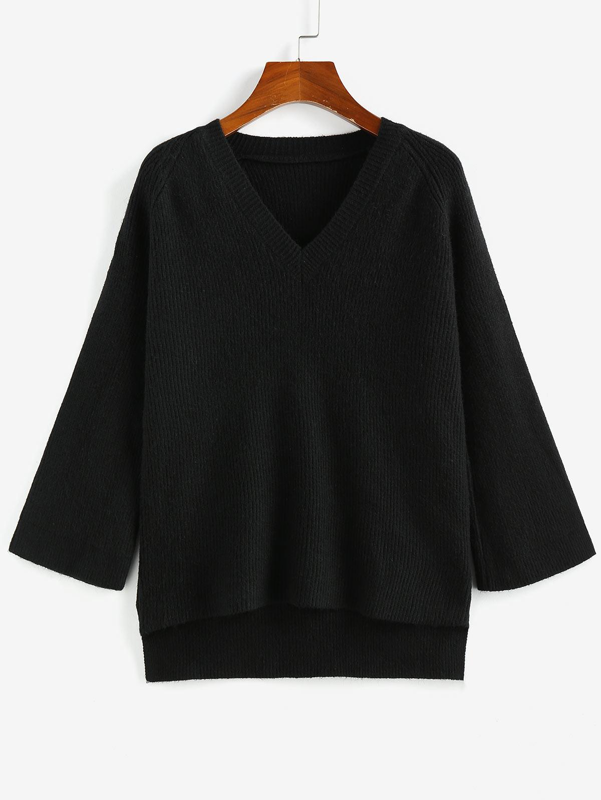 Pull-over Manches Raglan à Ourlets Haut Bas