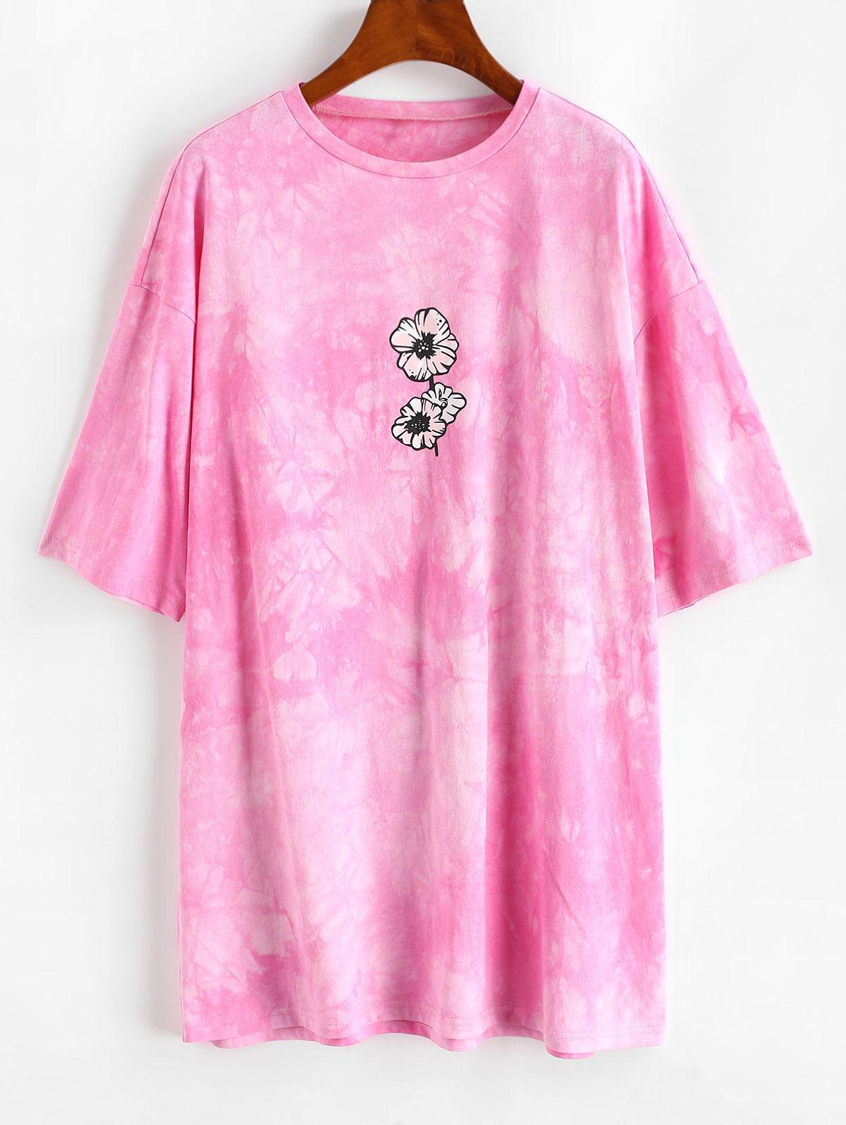 ZAFUL Casual Tie Dye Floral Tee Dress