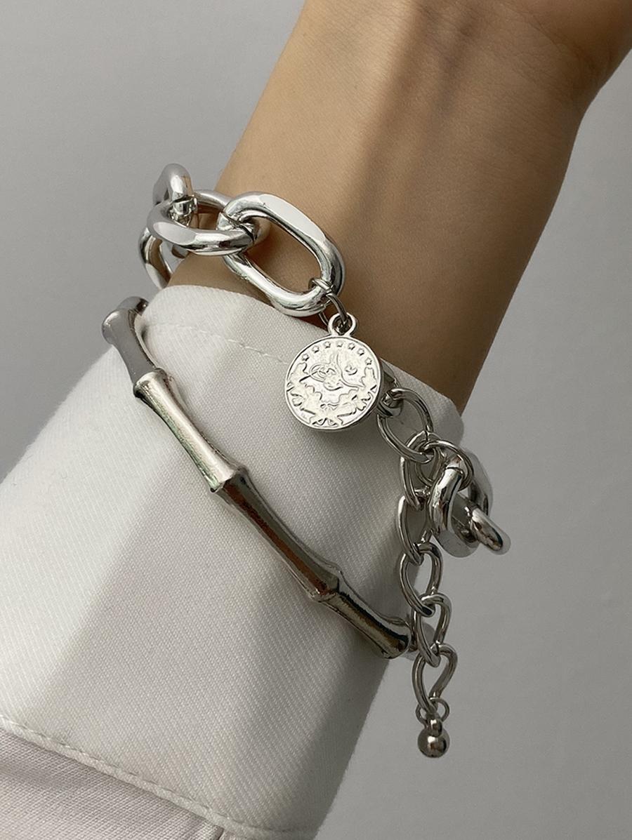 2Pcs Bamboo Chain Bracelet Set