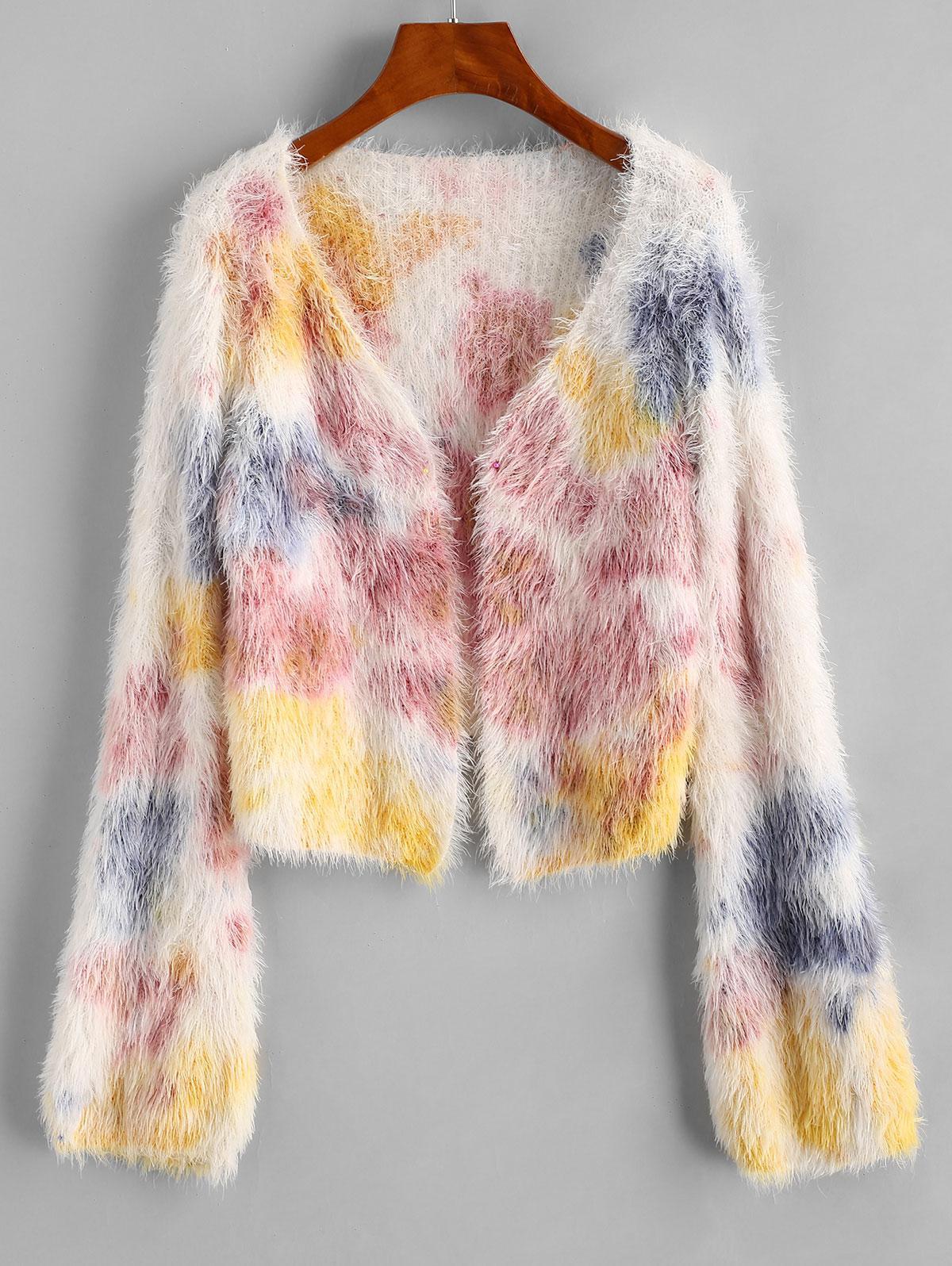 Fuzzy Tie Dye Open Cropped Cardigan