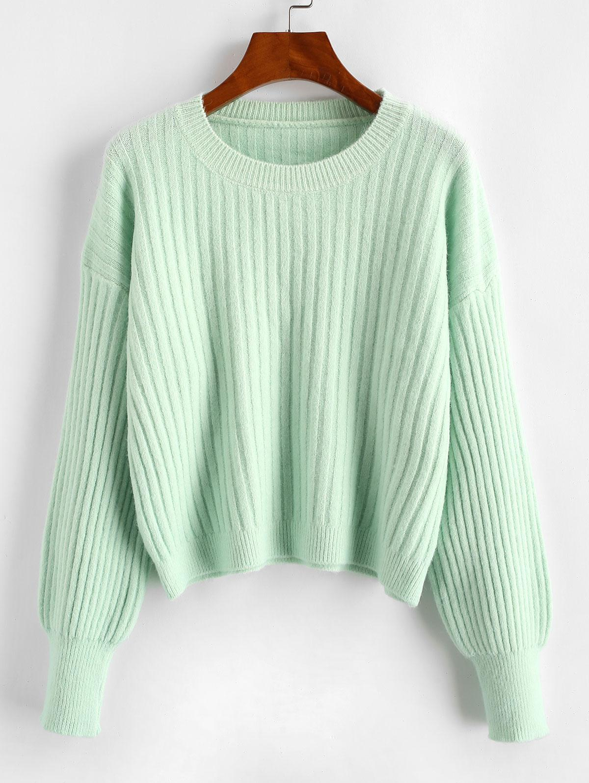 Crew Neck Plain Ribbed Sweater