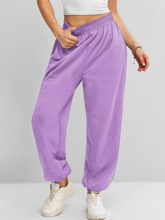 best High Waisted Pocket Jogger Sweatpants - LIGHT PURPLE XL