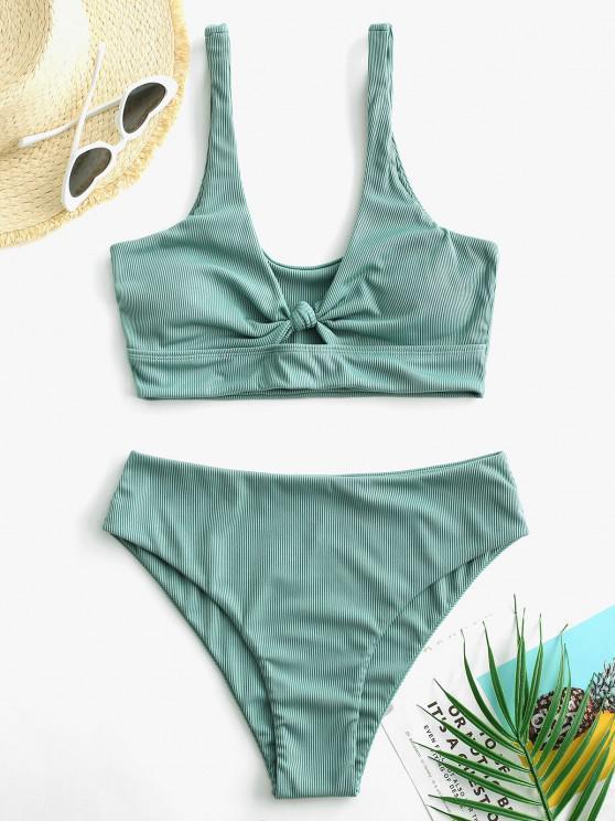 womens ZAFUL Knot Keyhole Ribbed Tankini Swimwear - LIGHT GREEN L