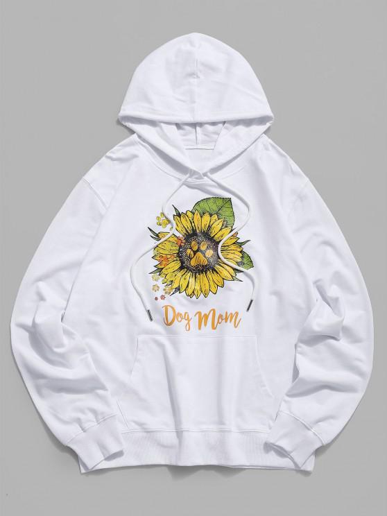 buy Daisy Paw Graphic Casual Pouch Pocket Hoodie - WHITE XS
