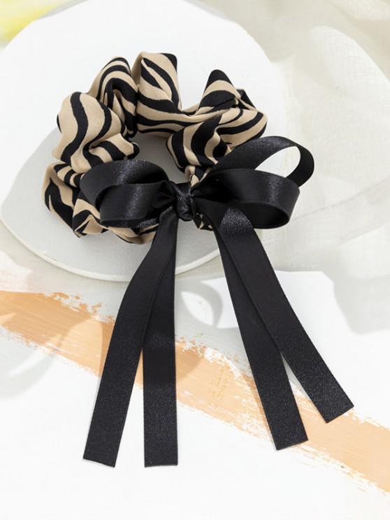 Stripes Print Bowknot Ribbon Scrunchy - ديب الخوخ