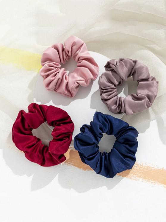 sale 4 Piece Plain Elastic Hair Scrunchies Set - MULTI