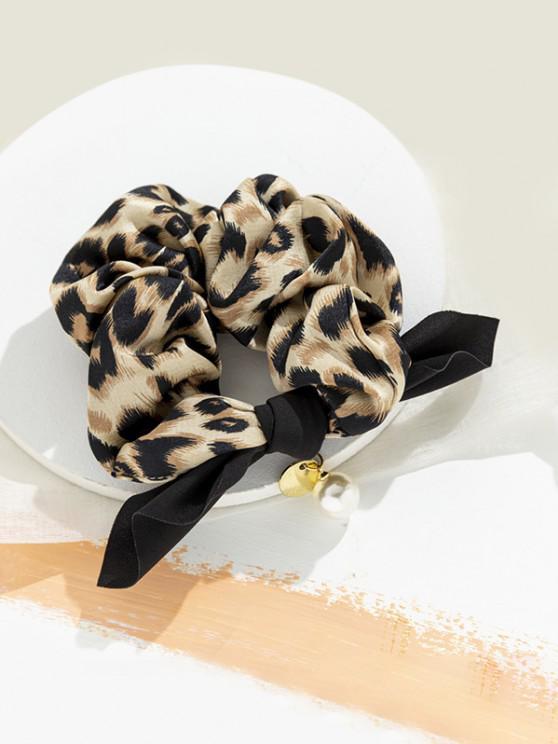 Leopard Faux Pearl Bowknot Scrunchy - البني الفاتح