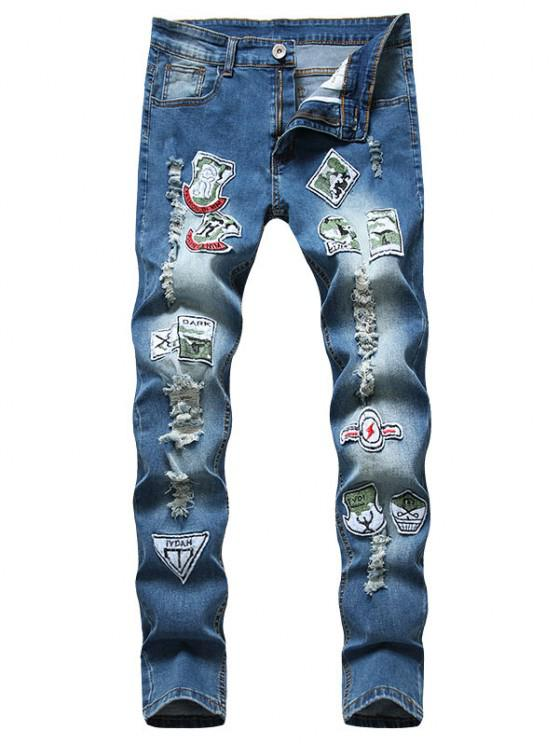 lady Distressed Ripped Patchwork Long Jeans - BLUE 38
