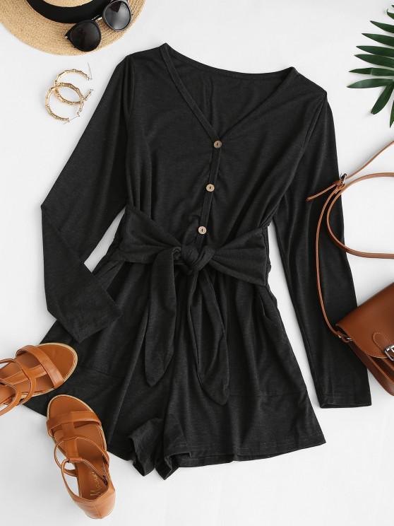 womens Tie Waist Pocket Long Sleeve Tee Romper - BLACK L