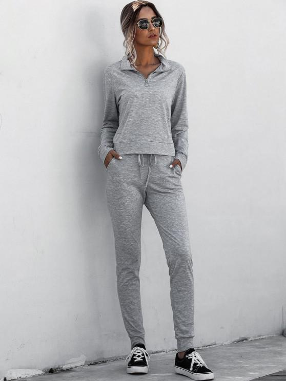 best Half Zip Marled Tracksuit - GRAY XL