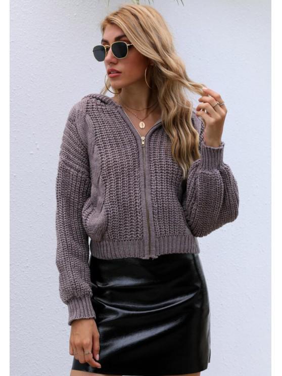 ladies Hooded Zip Up Drop Shoulder Chunky Cardigan - COFFEE ONE SIZE