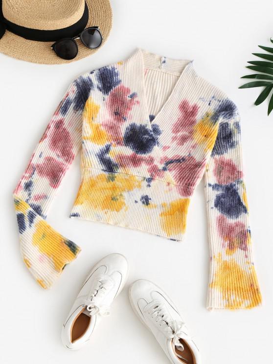 V Neck Tie Dye Surplice Sweater - متعدد حجم واحد