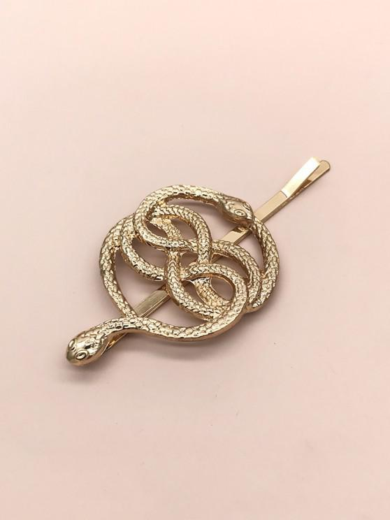 Dual Snake Pattern Hair Clip - ذهبي
