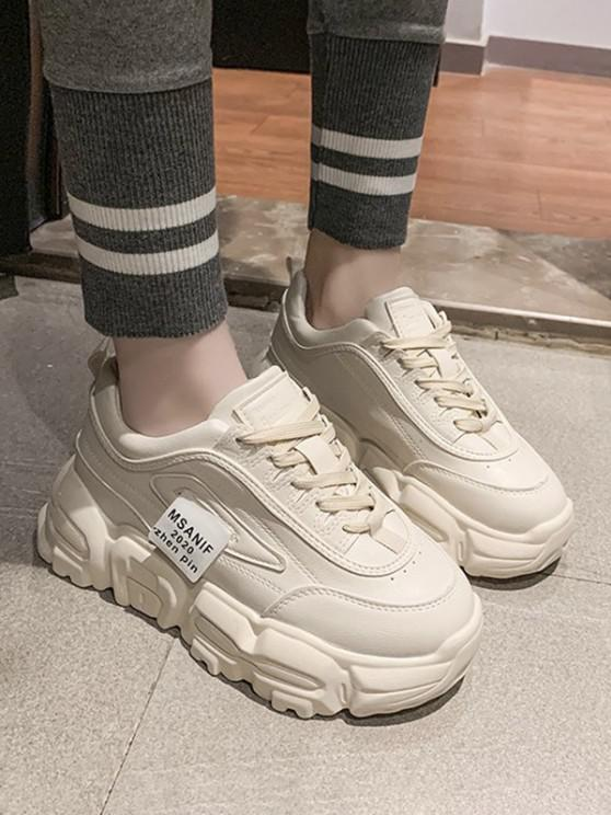 shop Letters Pattern Lace-up Platform Sneakers - BEIGE EU 38