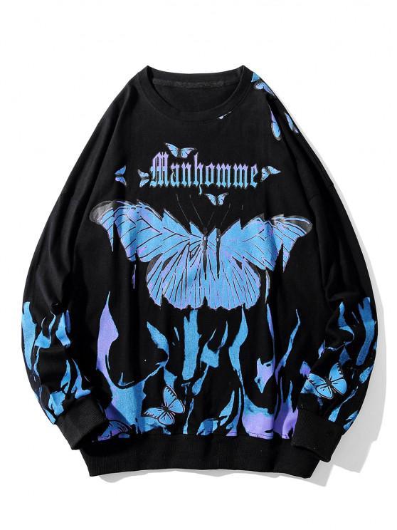 Sudadera con Hombro Caído y Estampado de Mariposa - Negro 4XL