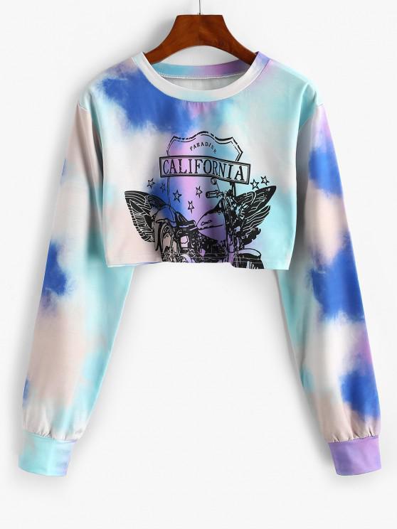 ladies Star CALIFORNIA Tie Dye Cropped Sweatshirt - LIGHT BLUE L