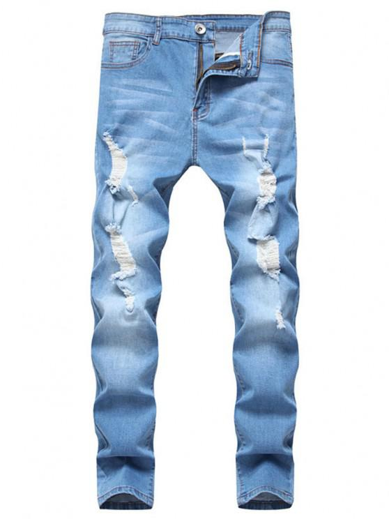 ladies Long Distressed Ripped Denim Pants - LIGHT BLUE L