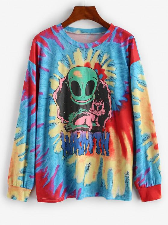 Long Sleeve Tie Dye Aliens Graphic Tee - أحمر L