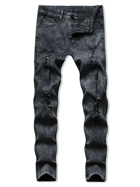 Distressed Destroy Wash Tapered Jeans - أسود M