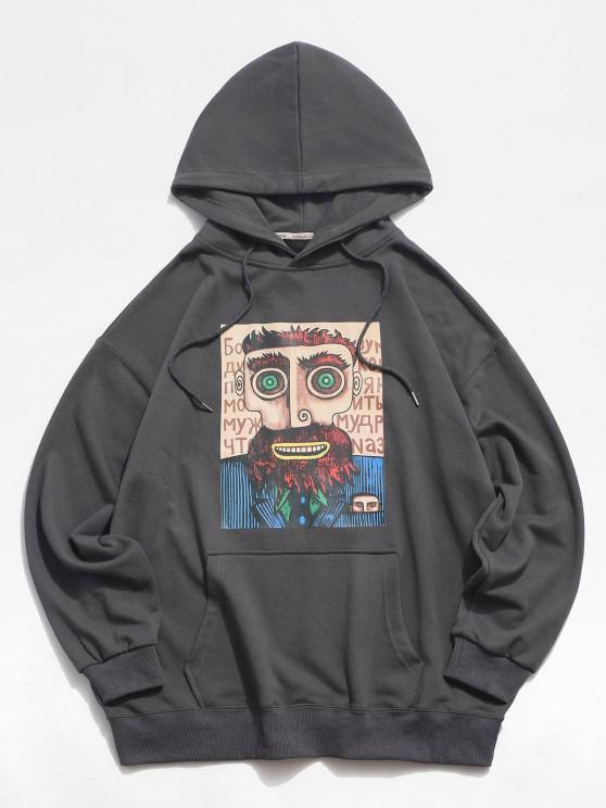 Camisola Masculina de Ombro com Cordão - Cinzento Escuro 2XL