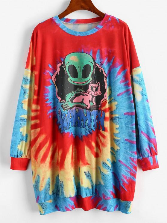 Casual Tie Dye Alien Sweatshirt Dress - roșu L