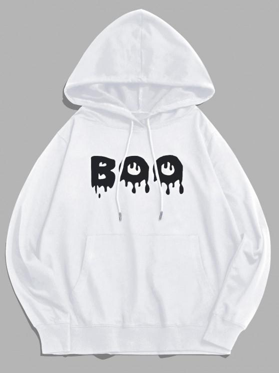 new Pouch Pocket Boo Graphic Pullover Hoodie - WHITE XS