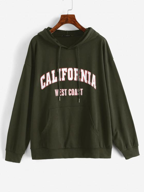 online Drawtring WEST COAST Graphic Front Pocket Hoodie - DEEP GREEN M