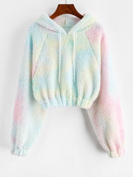 chic Tie Dye Raglan Sleeve Crop Teddy Hoodie - LIGHT PINK S