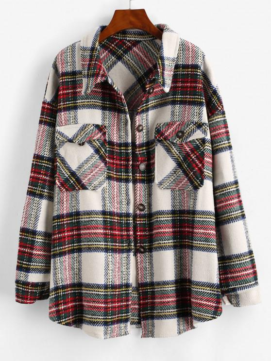 fashion Checked Front Pocket Tweed Coat - GREEN M