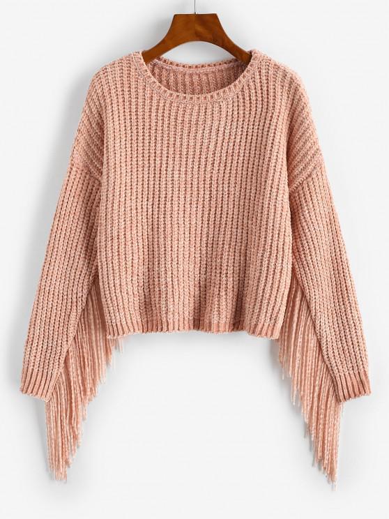 Fringed Chenille Drop Shoulder Sweater - وردي فاتح حجم واحد