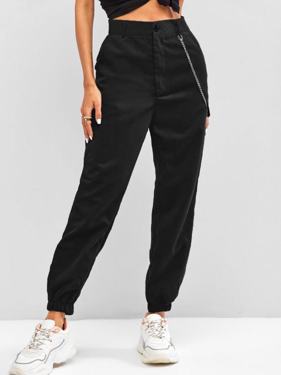 hot High Waisted Flap Detail Chain Pants - BLACK XL