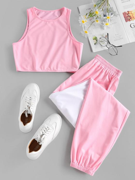 women ZAFUL Bicolor Sleeveless Sports Jogger Pants Set - PINK M
