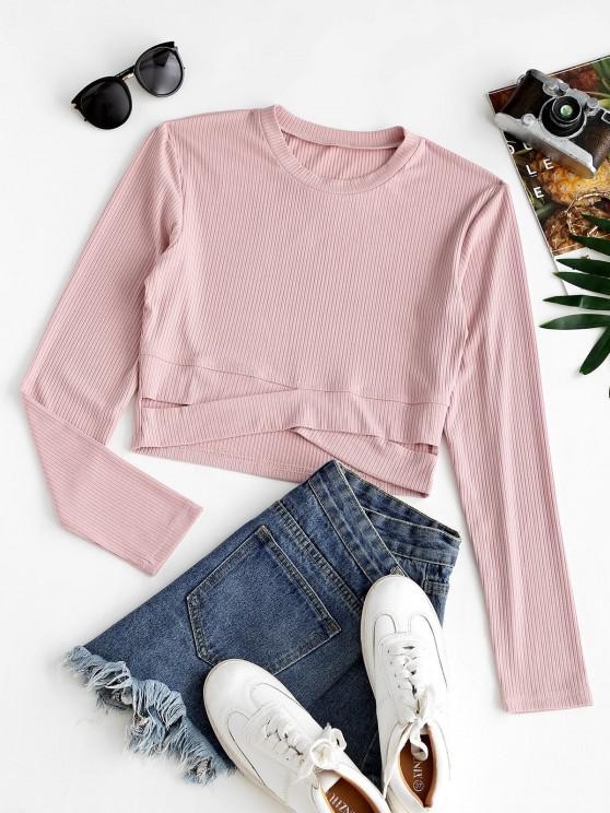 T-shirt Rugoso Cruzado com Nervuras - Luz rosa XL