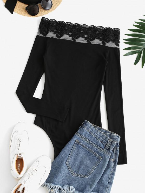 Ribbed Embroidered Mesh Panel Off Shoulder Bodysuit - Black S   ZAFUL