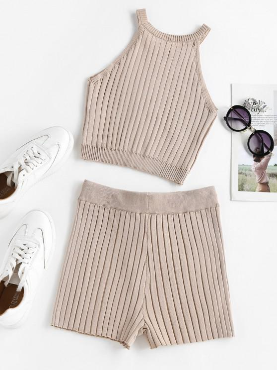 ZAFUL Lounge Ribbed Cutaway Drawstring Shorts Set - Light Coffee M
