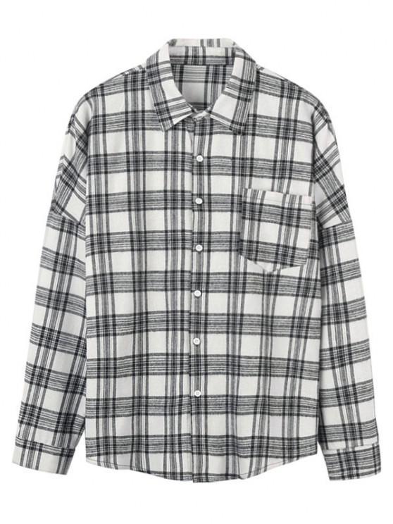 ladies Plaid Pattern Pocket Long Sleeve Shirt - WHITE XL