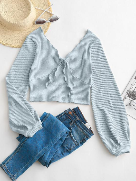 hot ZAFUL Ribbed Tie Front Heathered Top - LIGHT BLUE M