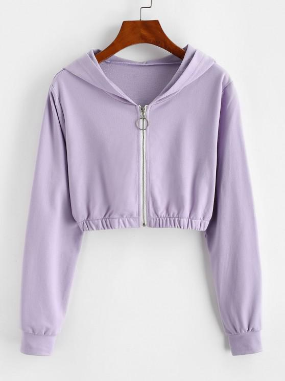 ZAFUL Pull Ring Zip Hooded Crop Jacket - ضوء ارجواني L