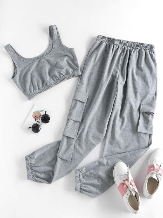 women's ZAFUL Pocket Sleeveless High Waisted Joggers Set - ASH GRAY XL