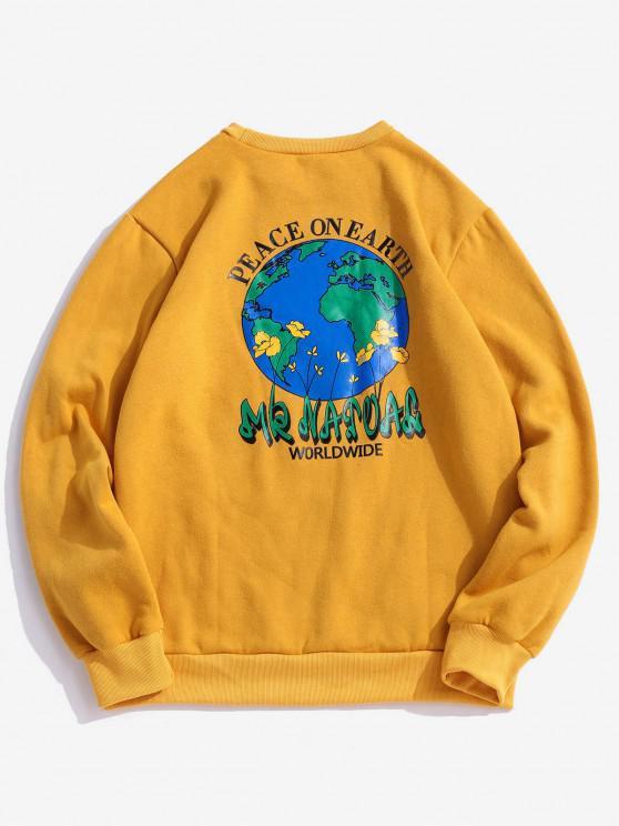 Friedenstaube Taille Grafik Vlies Sweatshirt - Gelb XL