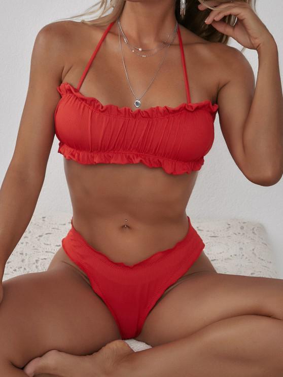 shops ZAFUL Halter Ribbed Lettuce-trim Ruched Bikini Swimwear - RED M