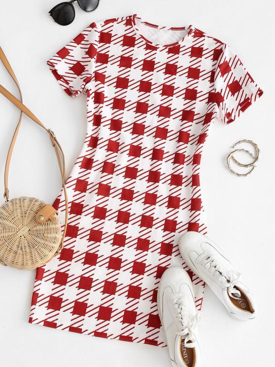 ZAFUL Plaid Textured Bodycon Mini Dress - متعددة-A M