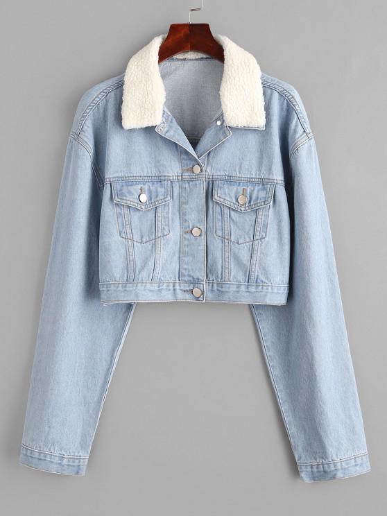 fancy Drop Shoulder Teddy Faux Shearling Collar Denim Jacket - LIGHT BLUE L