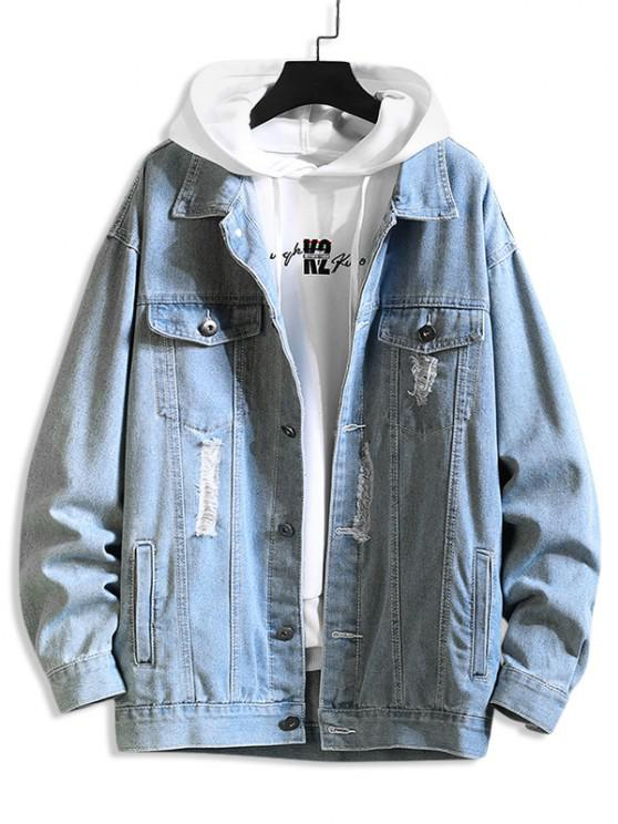Distressed Ripped Letter Jean Jacket - ازرق 2XL