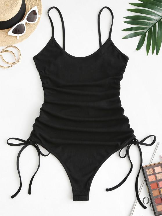 best ZAFUL Ribbed Cinched Tie Cami Bodysuit - BLACK S