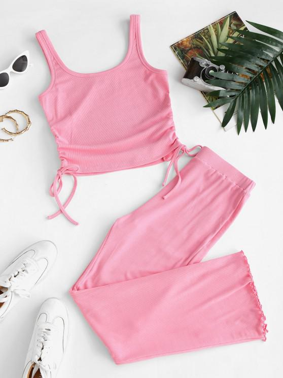 trendy ZAFUL Ribbed Cinched Tie Lettuce Two Piece Pants Set - LIGHT PINK M