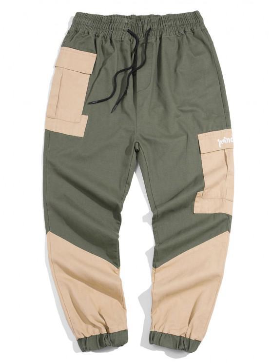 Panda Color Blocking Panel Cargo Pants - الجيش الأخضر S