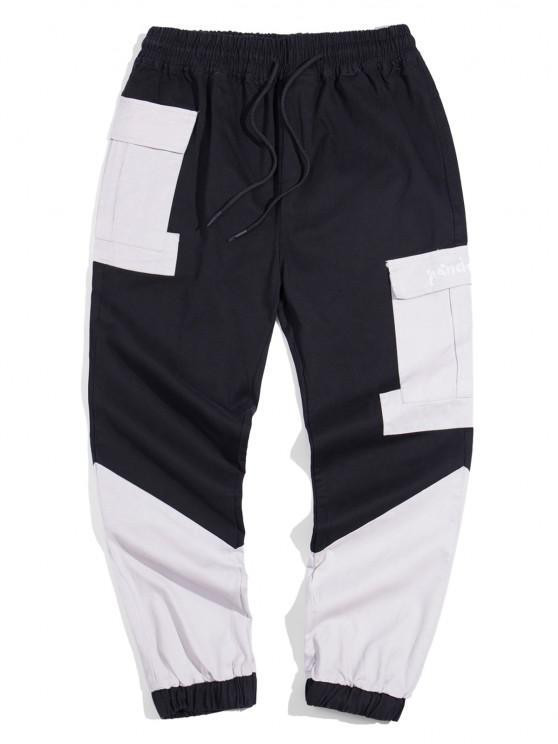 Panda Color Blocking Panel Cargo Pants - أسود L